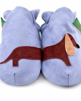 Sausage Dog soft baby shoes & toddler slippers – Blue