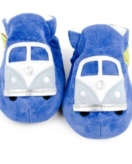 Campervan Soft Baby Shoes – Children's Slippers – Blue