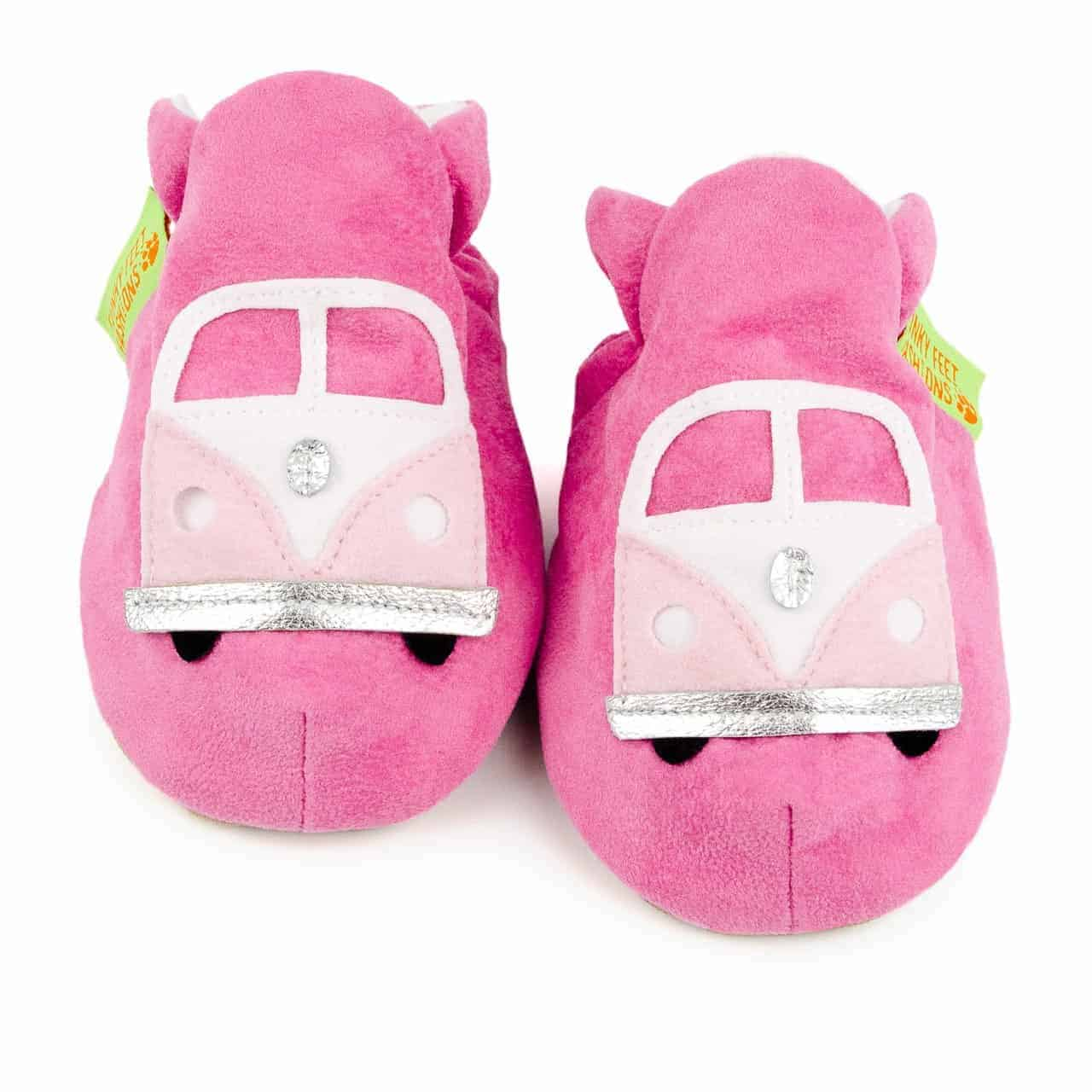 c9fb3d0513 Campervan Soft Baby Shoes – Children s Slippers – Pink - Funky Feet ...