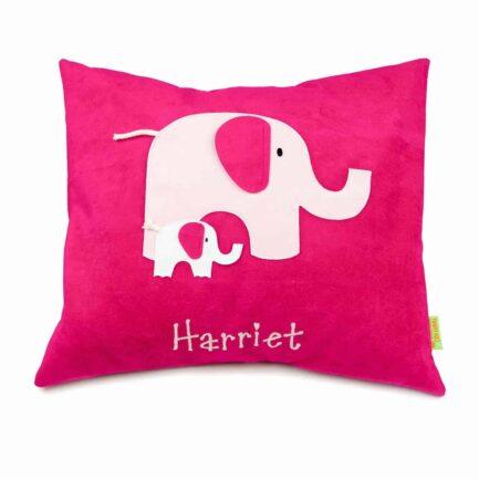 Elephant personalised cushion - hot pink