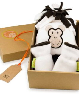 Monkey Hat and Mittens Gift Set