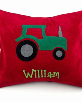 Tractor Red personalised cushion