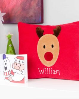 Rudolf personalised Christmas cushion