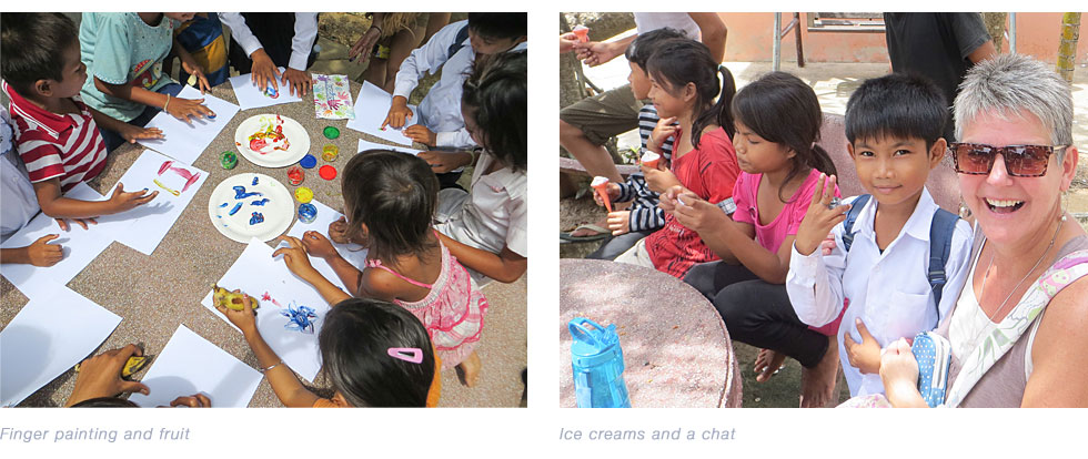 finger painting & ice creams with the children